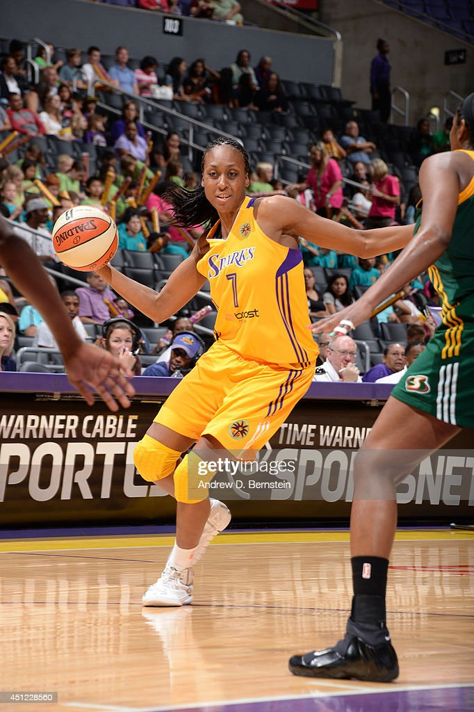 <a gi-track='captionPersonalityLinkClicked' href=/galleries/search?phrase=Sandrine+Gruda&family=editorial&specificpeople=711208 ng-click='$event.stopPropagation()'>Sandrine Gruda</a> #7 of the Los Angeles Sparks passes the ball against the Seattle Storm at STAPLES Center on June 24, 2014 in Los Angeles, California.