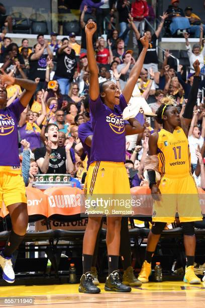 Sandrine Gruda of the Los Angeles Sparks reacts during the game against the Minnesota Lynx in Game Three of the 2017 WNBA Finals on September 29 2017...