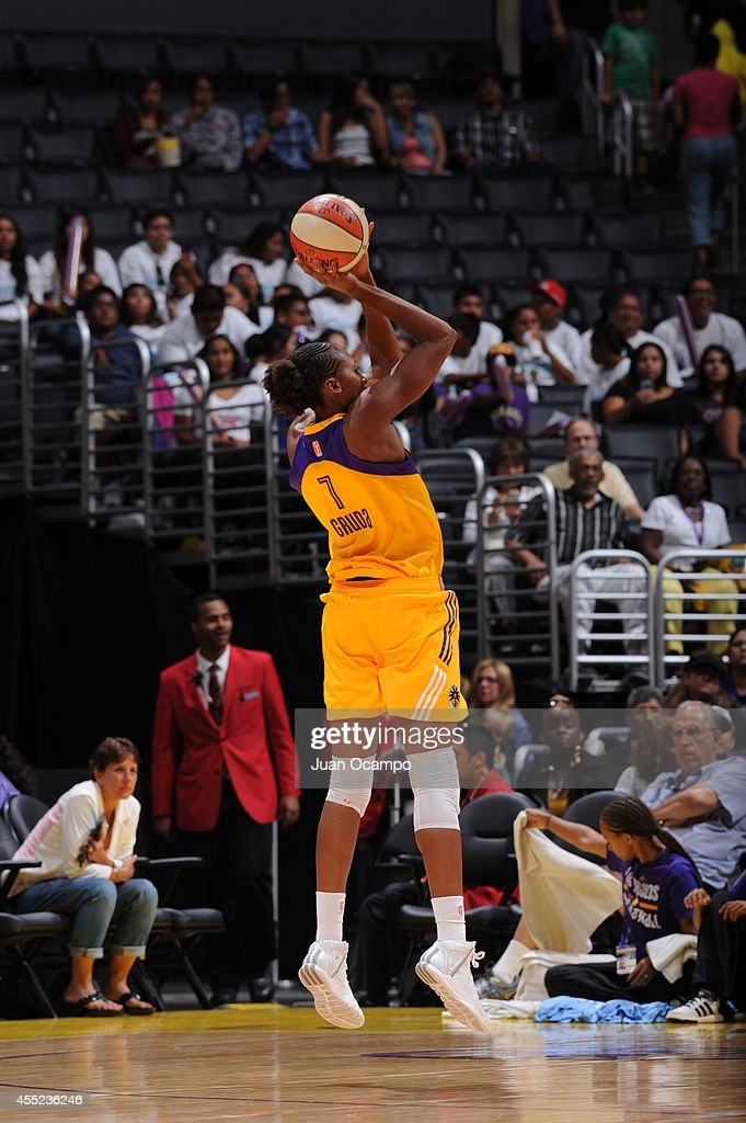 <a gi-track='captionPersonalityLinkClicked' href=/galleries/search?phrase=Sandrine+Gruda&family=editorial&specificpeople=711208 ng-click='$event.stopPropagation()'>Sandrine Gruda</a> #7 of the Los Angeles Sparks shoots the ball against the Atlanta Dream at Staples Center on August 8, 2014 in Los Angeles, California.