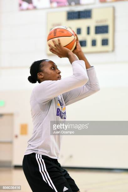 Sandrine Gruda of the Los Angeles Sparks shoots the ball during practice at the Galen Center during the WNBA Finals in Los Angeles California on...