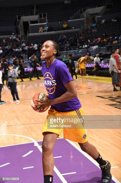 Sandrine Gruda of the Los Angeles Sparks warms up before the game against the New York Liberty on August 4 2017 at the STAPLES Center in Los Angeles...