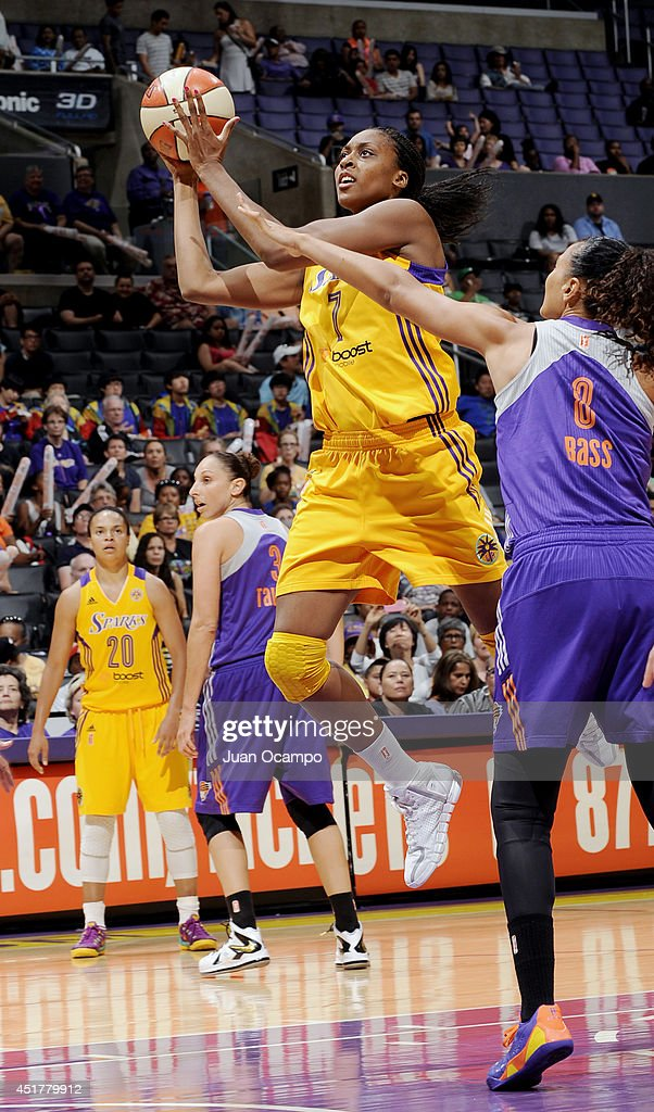 <a gi-track='captionPersonalityLinkClicked' href=/galleries/search?phrase=Sandrine+Gruda&family=editorial&specificpeople=711208 ng-click='$event.stopPropagation()'>Sandrine Gruda</a> #7 of the the Los Angeles Sparks shoots against Mistie Bass #8 of the Phoenix Mercury at Staples Center on July 6, 2014 in Los Angeles, California.