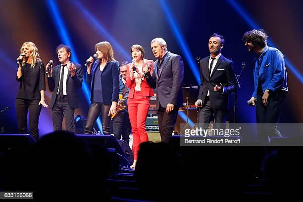 Sandrine Kiberlain Alain Souchon Carla Bruni Sarkozy Jeanne Cherhal Julien Clerc Designer of the show Pierre Souchon and Gael Faure perform during...