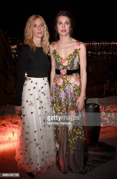 Sandrine Kiberlain and Charlotte Casiraghi attend the Women in Motion Awards Dinner at the 70th Cannes Film Festival at Place de la Castre on May 21...