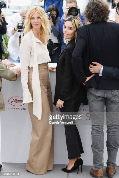 Sandrine Kiberlain and Elodie Bouchez attend Jury Camera D'Or Photocall during the 70th annual Cannes Film Festival at Palais des Festivals on May 18...
