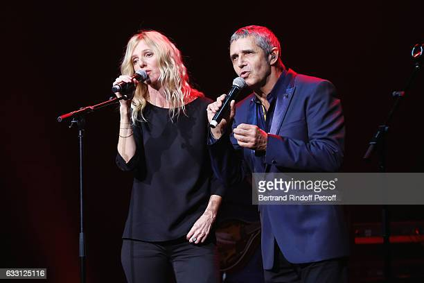 Sandrine Kiberlain and Julien Clerc perform during the Charity Gala against Alzheimer's disease at Salle Pleyel on January 30 2017 in Paris France