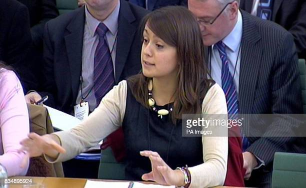 Sandrine Leveque gives evidence to the Culture Media and Sport select committee in the House of Commons London who are investigating the licensing of...