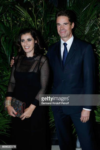 Sandrine Sarroche and JeanPascal Tranie attend the 'Diner des Amis de Care' at Hotel Peninsula Paris on October 9 2017 in Paris France
