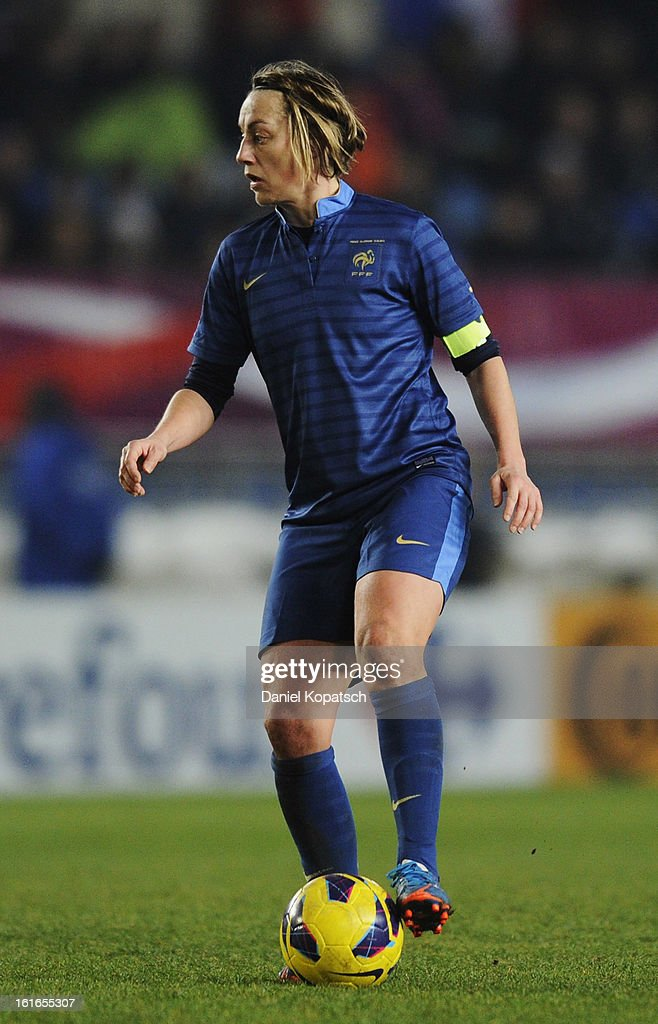 Sandrine Soubeyrand of France controles the ball during the international friendly match between France and Germany at Stade de la Meinau on February 13, 2013 in Strasbourg, France.