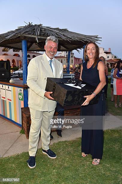 Sandrine Testud and Darren Clarke attend the Gala Dinner during The Costa Smeralda Invitational golf tournament at Pevero Golf Club Costa Smeralda on...