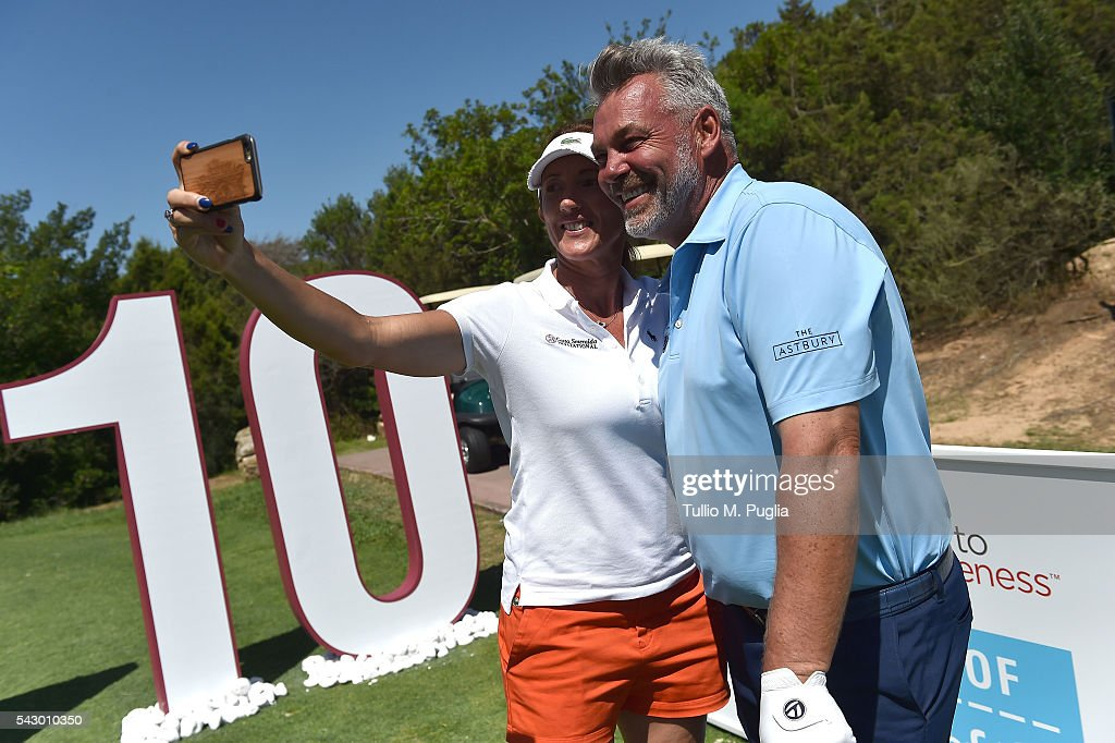 Sandrine Testud and Darren Clarke pose during The Costa Smeralda Invitational golf tournament at Pevero Golf Club - Costa Smeralda on June 25, 2016 in Olbia, Italy.