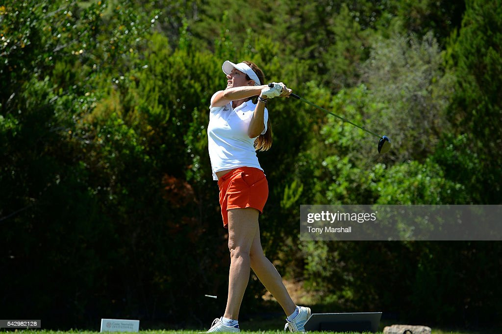 Sandrine Testud tees off during The Costa Smeralda Invitational golf tournament at Pevero Golf Club - Costa Smeralda on June 25, 2016 in Olbia, Italy.