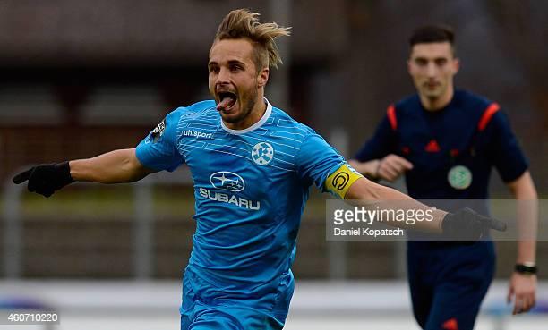 Sandrino Braun of Stuttgart celebrates his team's first goal during the third league match between Stuttgarter Kickers and SG SonnenhofGrossaspach at...