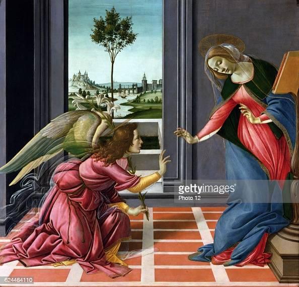 Sandro Botticelli Italian school The Annunciation or Cestello Annunciation Tempera on panel