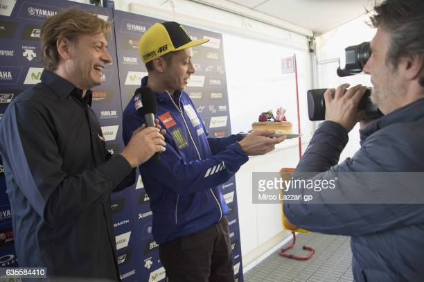 Sandro Donato Grosso of Italy interviews Valentino Rossi of Italy and Movistar Yamaha MotoGP and celebrates Valentino Rossi's birthday with a cake...