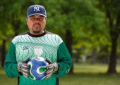 Sandro Garcia of Pueblo Mexico now living in Corona Queens poses for a portrait Competitors participate in the Fedeiguayas Soccer League on May 27...