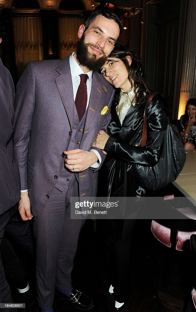 Sandro Kopp (L) and Bella Freud attend the London EDITION and NOWNESS dinner to celebrate ON COLLABORATION on October 14, 2013 in London, England.
