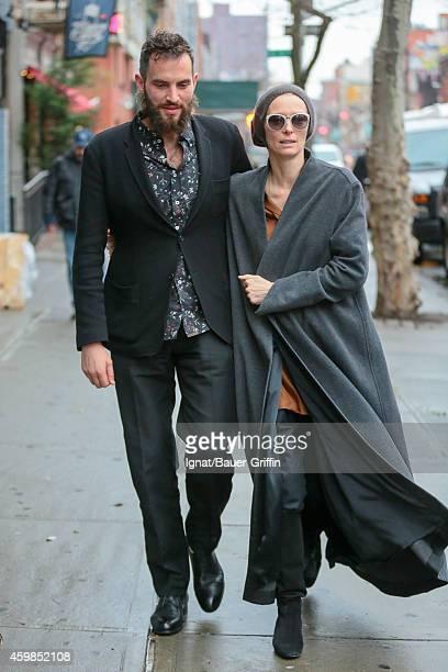 Sandro Kopp and Tilda Swinton are seen in New York City on December 02 2014 in New York City