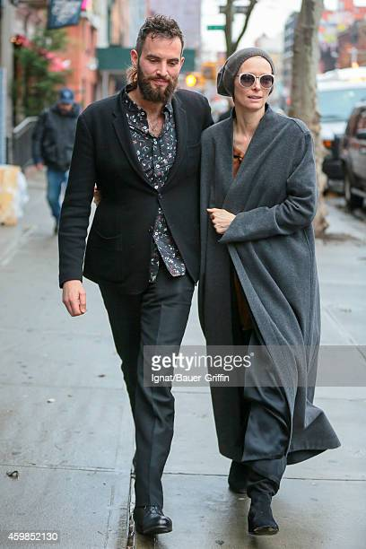 Sandro Kopp and Tilda Swinton are seen in New York City on December 02 2014 in New York City