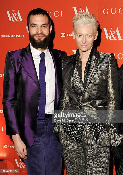 Sandro Kopp and Tilda Swinton attend the private view for the 'David Bowie Is' exhibition in partnership with Gucci and Sennheiser at the Victoria...