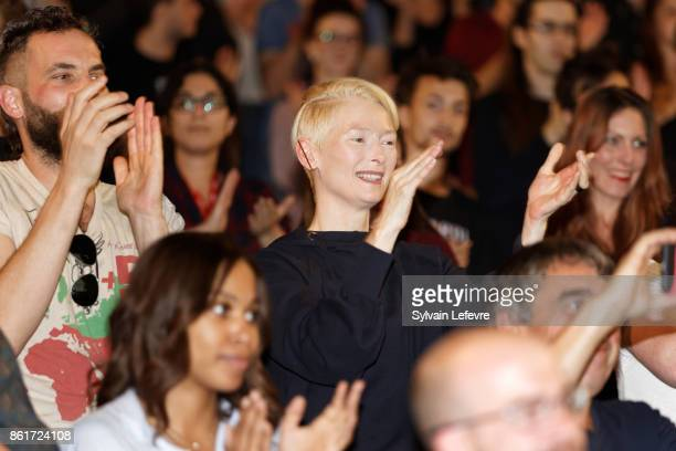 Sandro Kopp and Tilda Swinton attends premiere of 'The Shape of Water' at Lumiere Brothers Institut during day 2 of 9th Film Festival Lumiere on...