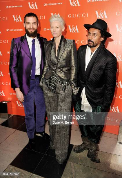 Sandro Kopp Tilda Swinton and Haider Ackermann attend the private view for the 'David Bowie Is' exhibition in partnership with Gucci and Sennheiser...