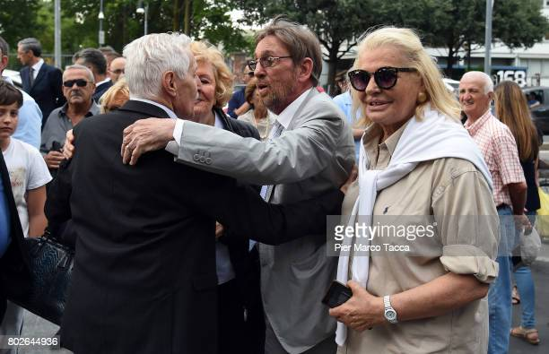 Sandro Mayer and Singer Giovanna attend Paolo Limiti funeral services at the church of Santa Maria Goretti on June 28 2017 in Milan Italy Paolo...