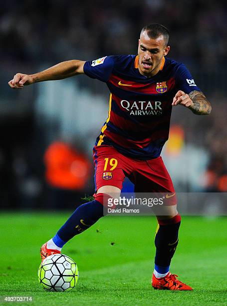 Sandro of FC Barcelona runs with the ball during the La Liga match between FC Barcelona and Rayo Vallecano at the Camp Nou stadium on October 17 2015...