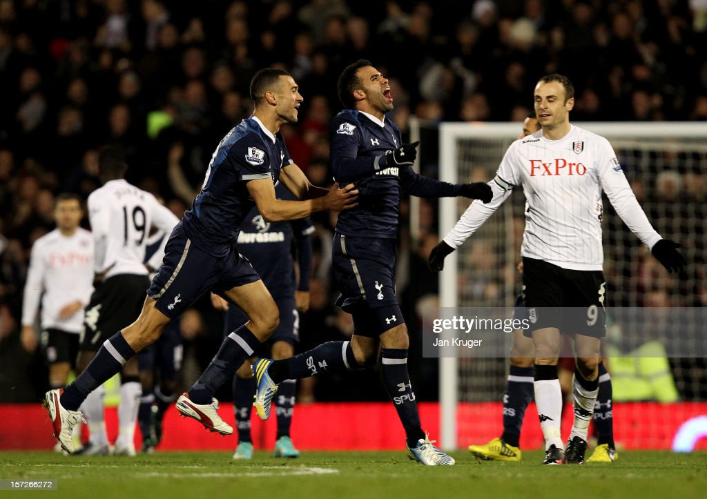 Sandro of Tottenham celebrates his goal with team mate <a gi-track='captionPersonalityLinkClicked' href=/galleries/search?phrase=Steven+Caulker+-+Soccer+Player&family=editorial&specificpeople=6527106 ng-click='$event.stopPropagation()'>Steven Caulker</a> during the Barclays Premier League match between Fulham and Tottenham Hotspur at Craven Cottage on December 1, 2012 in London, England.