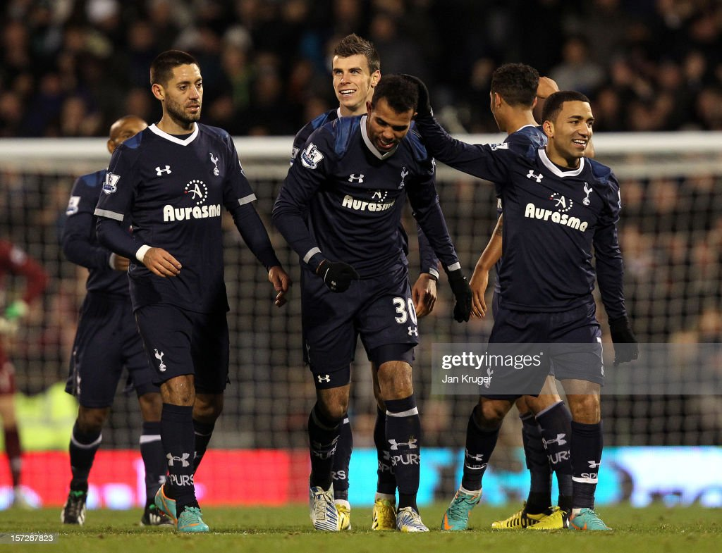 Sandro of Tottenham celebrates his goal with team mates during the Barclays Premier League match between Fulham and Tottenham Hotspur at Craven Cottage on December 1, 2012 in London, England.