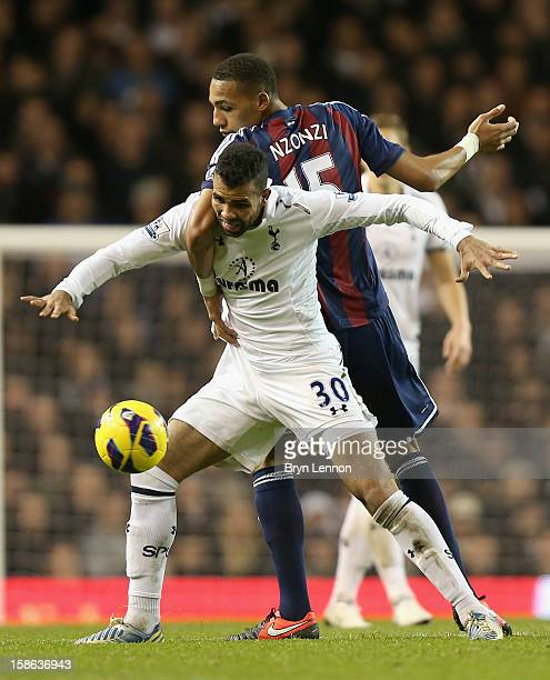 Sandro of Tottenham Hotspur and Steven Nzonzi of Stoke City battle for the ball during the Barclays Premier League match between Tottenham Hotspur...