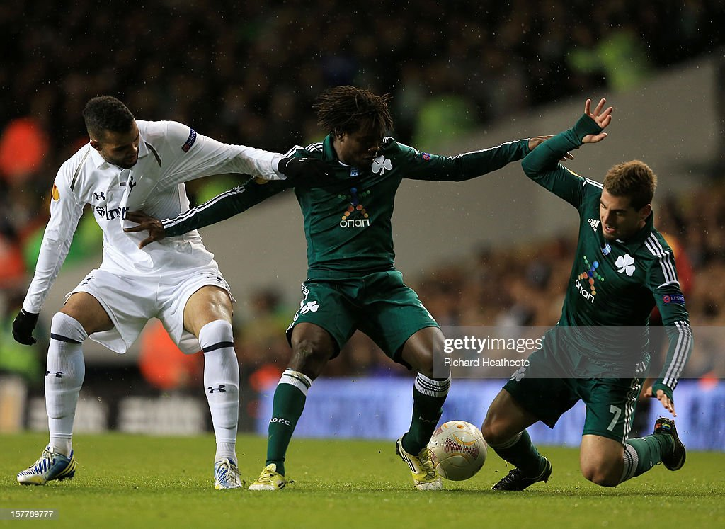 Sandro of Tottenham Hotspur battles for the ball with Ibrahim Sissoko and Charalambos Mavrias of Panathinaikos during the UEFA Europa League Group J match between Tottenham Hotspur and Panathinaikos at White Hart Lane on December 6, 2012 in London, England.