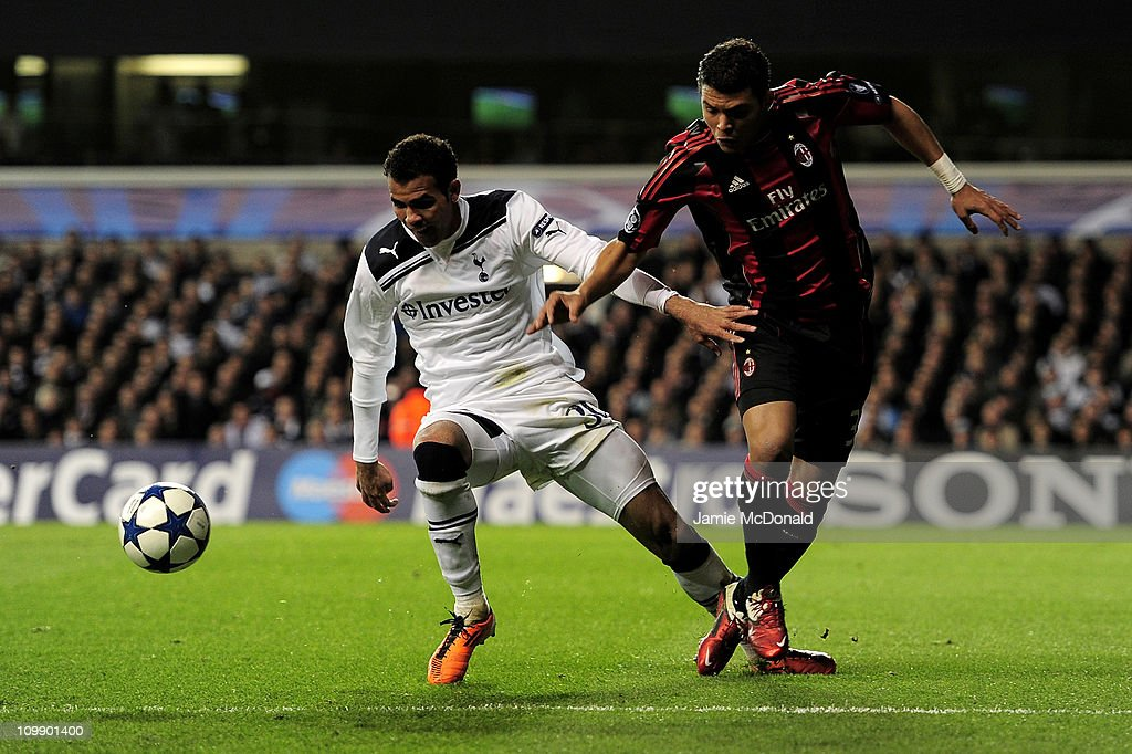 Sandro (L) of Tottenham vies with Thiago Silva of Milan during the UEFA Champions League round of 16 second leg match between Tottenham Hotspur and AC Milan at White Hart Lane on March 9, 2011 in London, England.