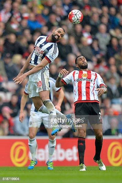 Sandro of West Bromwich Albion competes with Yann M'Vila of Sunderland during the Barclays Premier League match between Sunderland and West Bromwich...
