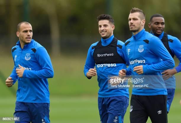 Sandro Ramirez Kevin Mirallas Morgan Schneiderlin and Cuco Martina during the Everton training session at USM Finch Farm on October 13 2017 in...