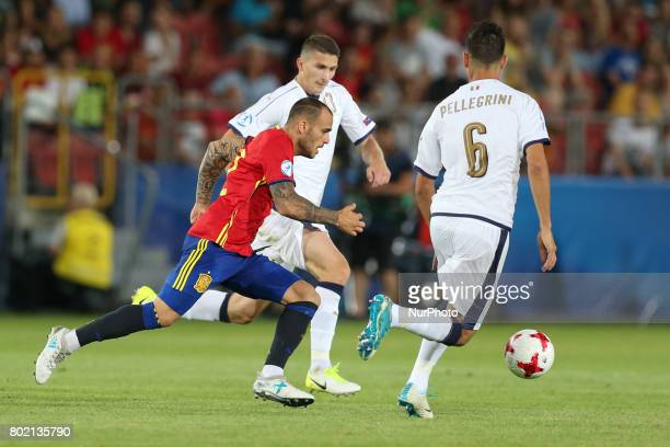 Sandro Ramirez Mattia Caldara Lorenzo Pellegrini during the UEFA European Under21 Championship Semi Final match between Spain and Italy at Krakow...