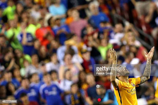 Sandro Ramirez of Barcelona celebrates a goal against Chelsea in the second half during the International Champions Cup North America at FedExField...
