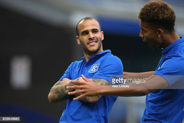 Sandro Ramirez of Everton celebrates after scoring the opening goal during a preseason friendly match between Everton and Sevilla at Goodison Park on...