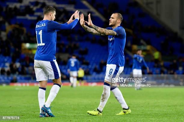 Sandro Ramirez of Everton celebrates his goal with Kevin Mirallas during the UEFA Europa League group E match between Everton and Atalanta at...