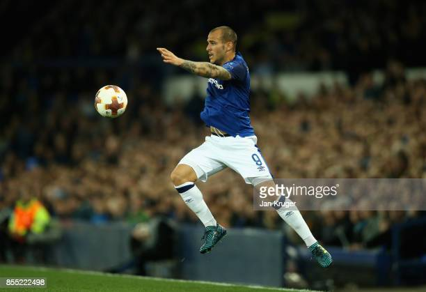Sandro Ramirez of Everton controlls the ball during the UEFA Europa League group E match between Everton FC and Apollon Limassol at Goodison Park on...