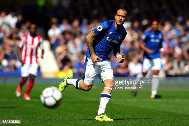 Sandro Ramirez of Everton in action during the Premier League match between Everton and Stoke City at Goodison Park on August 12 2017 in Liverpool...