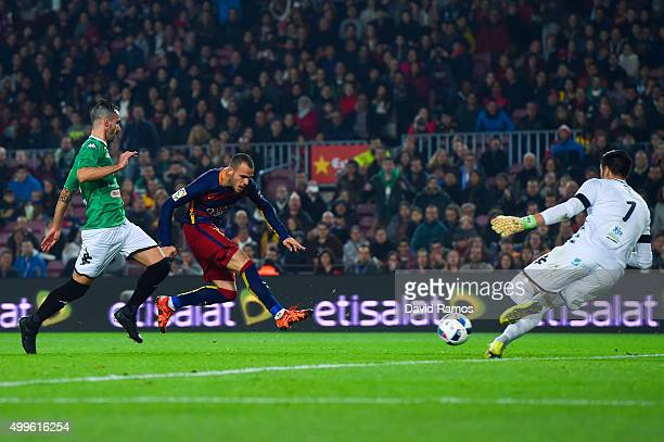Sandro Ramirez of FC Barcelona scores his team's third goal during the Copa del Rey Round of 32 second leg match betwen FC Barcelona and Villanovense...