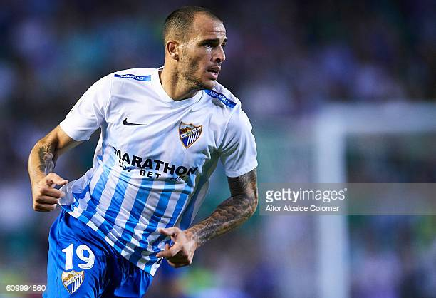 Sandro Ramirez of Malaga CF in action during the match between Real Betis Balompie vs Malaga CF as part of La Liga at Benito Villamarin stadium on...