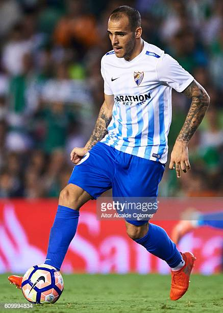 Sandro Ramirez of Malaga CF in actionduring the match between Real Betis Balompie vs Malaga CF as part of La Liga at Benito Villamarin stadium on...
