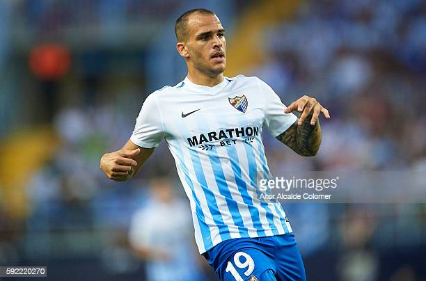 Sandro Ramirez of Malaga CF looks on during the match between Malaga CF vs CA Osasuna as part of La Liga at Estadio La Rosaleda on August 19 2016 in...