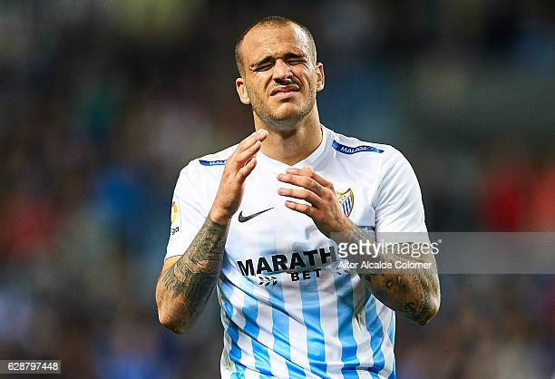 Sandro Ramirez of Malaga CF reacts after missing a chance of goal during La Liga match between Malaga CF and Granada CF at La Rosaleda Stadium...