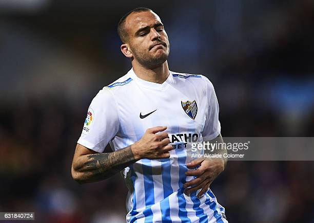 Sandro Ramirez of Malaga CF reacts during the La Liga match between Malaga CF and Real Sociedad de Futbol at La Rosaleda Stadium on January 16 2017...
