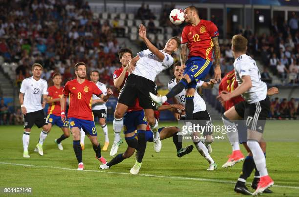 Sandro Ramirez of Spain heads towards goal during the UEFA European Under21 Championship Final between Germany and Spain at Krakow Stadium on June 30...