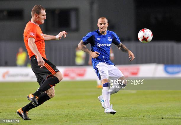 Sandro Ramirez reacts during the UEFA Europa League Qualifier between MFK Ruzomberok and Everton on August 3 2017 in Ruzomberok Slovakia