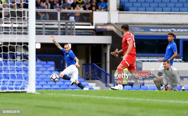 Sandro Ramirez shoots to score during the Pre Season Friendly match between Everton and Sevilla at Goodison Park on August 6 2017 in Liverpool England